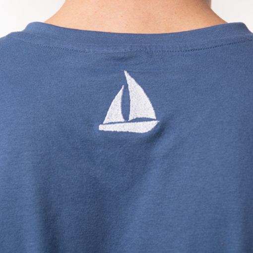 Küstenhopper Shirt Herren blau Stickerei Segelboot